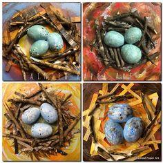 Bird Nests | Painted Paper Art