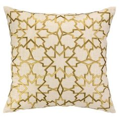 Check out this item at One Kings Lane! Geometric 20x20 Linen Pillow, Gold