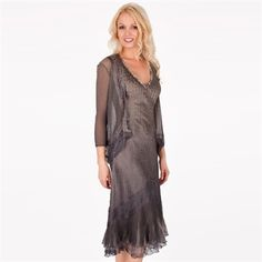 Komarov Embellished Crinkle Charmeuse Dress with Jacket| from Von Maur #vonmaur #specialoccasion