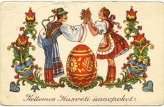 We wish you a Happy Easter Hungary History, Budapest, Retro, Happy Easter, Folk Art, Rooster, Faith, Painting, Animals