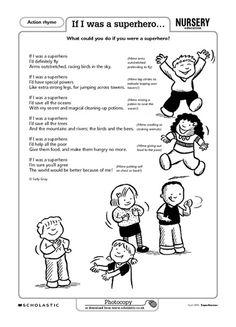A fun action rhyme exploring how a superhero could help others. Superhero Preschool, Superhero Classroom Theme, Preschool Graduation, Preschool Songs, Classroom Themes, Preschool Ideas, Superhero Ideas, Superhero Party, Super Hero Day
