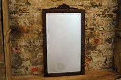 Vintage Oak Framed Mirror with Beveled Glass by territoryhardgoods