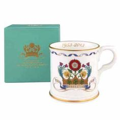 Coronation Mug ~ his elegant bone china mug is decorated with an original design created by Fortnum's to mark the 60th anniversary of the coronation of Queen Elizabeth II. Made in England and presented in an eau de nil gift box with golden lettering, this beautiful gift will be a lasting reminder of this historic milestone. Exclusive to Fortnum & Mason