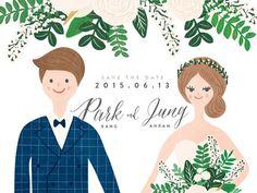 여름에 결혼하는 분들을 위한 웨딩 일러스트입니다. 그린과 네이비로 여름의 싱그러움을 더 강조했습니다.