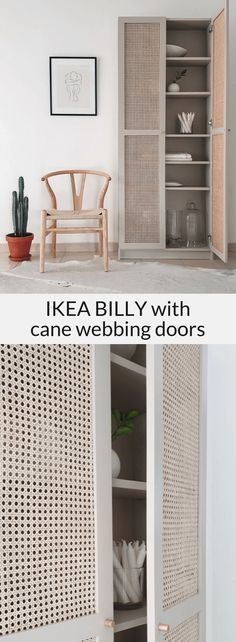 IKEA BILLY cane furniture hack featuring custom cane webbing doors.