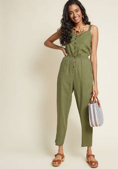 619562d4e467 Every Waking Momentum Cotton-Linen Jumpsuit in Olive