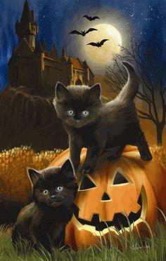 Keep black cats safe on Halloween! - Keep black cats safe on Halloween! Happy Halloween, Halloween Mono, Halloween Painting, Halloween Pictures, Spooky Halloween, Vintage Halloween, Halloween Decorations, Halloween Tattoo, Halloween Drawings