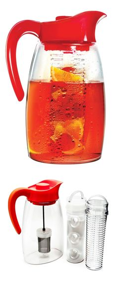 Red beverage flavor infuser jug // add teas, fruits etc to the flavour compartment, yum!