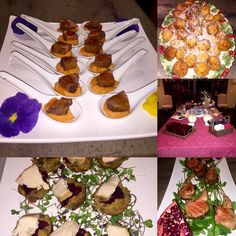 Holiday Appetizer Party for 60 Guests- Apricot Duck on Sweet Potato Puree, Stuffing & Turkey Bites w/ Cranberry Sauce, Arancini, Seared Lamb Chops w/ Pomegranate Glaze