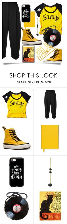 """""""Bez naslova #804"""" by wuteringheights ❤ liked on Polyvore featuring Current Mood, Dolce&Gabbana, Dr. Martens, Smythson, Casetify, Runa and CABARET"""