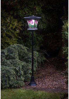 solar garden lights led stained glass light outdoor decor yard powered lamp post