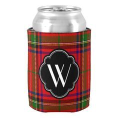 Stewart Plaid and Monogram Can Cooler