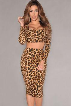 c74dfa2940 Looking for a cute skirt set- Leopard Print Long Sleeves Skirt Set US  7.29