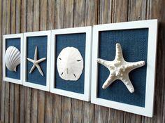 Cottage Chic Set of Beach Wall Art Nautical Decor Beach House Wall Decor Sea Shell Art Beach Decor Coastal Art White with Navy Burlap (59.99 USD) by OMearasCottageCharm