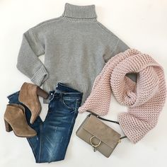 blush-pink-chunky-knit-scarf-chloe-faye-small-suede-clutch-goodnight-grey-turtleneck-sweater-goodnight-macaroon-distressed-jeans-vince-camuto-franell-western-booties-flatlay