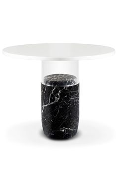 Laplace | FL 159 — The Rubi guéridon | Laplace FL 159 — Table Materials :Black Silk marble, Crystal White marble and extra white glass Dimensions : H 75cm ø 100cm