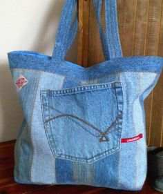 Denim Tote bag Re-purposed denim jeans 15 x 12 by ripnrollrugs