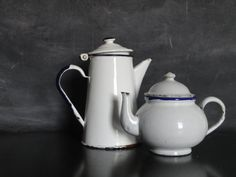 Vintage Blue and White Enamelware Metal Teapot and Coffee Pot-Rustic Kitchenware-Farmhouse Cottage Chic on Etsy, $32.00