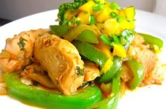 Spicy Coconut Chicken With Mango Basil Salsa. Made this, adults loved, kids not so keen Coconut Chicken, Basil Chicken, Food Dishes, Main Dishes, International Recipes, Creative Food, Chicken Recipes, Chicken Ideas, Healthy Eating