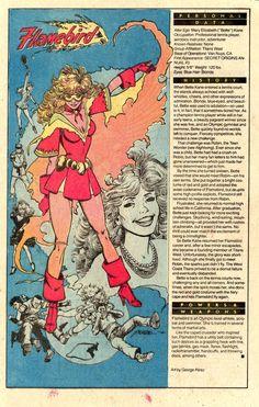 "The Evolution of DC Comics' Bette Kane aka Bat-Girl (can't forget the Dash) aka Flamebird aka Hawkfire aka Baseball Bombshell The original ""Bat-Girl"" is Bette Kane, niece of Kate Kane's ""Batwoman"",. Marvel Cartoon Movies, Marvel And Dc Characters, Marvel Comics Superheroes, Bd Comics, Comic Book Characters, Comic Character, Comic Books Art, Book Art, Gi Joe"