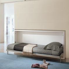 The Poppi is a horizontally opening, space saving wall bed. This murphy bed system is available in single (90) or intermediate sizes (120).