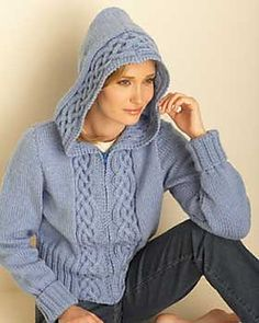 """Also available at FaveCrafts, as """"Cable Cardigan with Hood""""."""