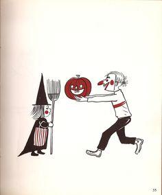 Happy Halloween everyone! Illustration from vintage Halloween book. Retro Halloween, Halloween Ii, Halloween Clipart, Halloween Books, Halloween Cards, Holidays Halloween, Happy Halloween, Halloween Clothes, Halloween Ideas