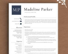 Modern Resume Template Resume Template for by LandedDesignStudio