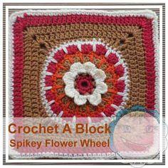 Free crochet pattern: Spikey Flower Wheel (Crochet A Block CAL) by Creative Crochet Workshop