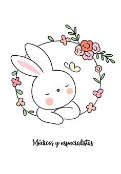 Hand Embroidery Stitches, Diy Embroidery, Embroidery Patterns, Cute Bunny Cartoon, Wreath Drawing, Cute Cartoon Wallpapers, Digital Stamps, Cute Illustration, Pattern Wallpaper