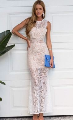 This Stella La ModaGorgeous Style Stalker Maxi Dress features high neck detail with white lace made with a short nude underlay and it has raw lace on sleeves, its light weight fabric stunning style with gold accessories
