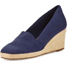 Andre Assous Pamela Canvas Wedge Pump (23.615 HUF) ❤ liked on Polyvore featuring shoes, pumps, navy, navy wedge pumps, slip on shoes, navy canvas shoes, round toe pumps and navy shoes