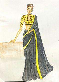 Fashion Design Portfolio, Fashion Design Drawings, Fashion Sketches, Fashion Illustration Dresses, Fashion Illustrations, Fashion Drawing Tutorial, Girl Photography Poses, Handloom Saree, Curry Recipes