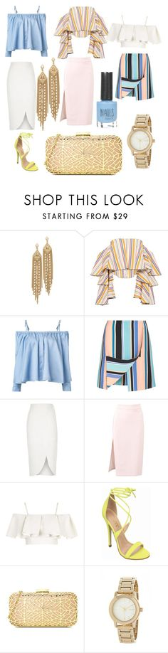 """""""Crazy Ruffles: Mix & Match"""" by kateycisneros ❤ liked on Polyvore featuring Capwell + Co, Caroline Constas, Sandy Liang, Opening Ceremony, River Island, MSGM, Topshop, Love Moschino, DKNY and ruffles"""