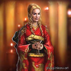 🆕👑Cersei Lannister🦁in Kimono of House Lannister🦁👘 I decided to draw Cersei from seasons. Cersei Lannister / Kimono of House Lannister Cersei Lannister, Jaime Lannister, Daenerys Targaryen, Familia Lannister, Jaime And Brienne, Traditional Japanese Kimono, Japanese Style, Game Of Thrones Art, Sansa Stark
