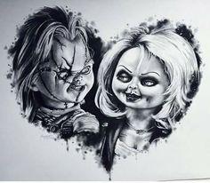 Chucky And Tiffany! Love it Chucky And Tiffany! Arte Horror, Horror Art, Tiffany Tattoo, Chucky Drawing, Chucky Tattoo, Horror Movie Tattoos, Catrina Tattoo, Bride Of Chucky, Brides With Tattoos
