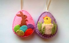 Felt easter decoration  felt eggs with chicken and by DusiCrafts