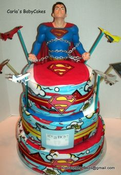 Superman Diaper Cake - fun project for a repeat customer