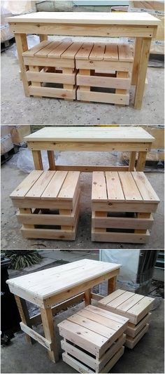 A custom and ravishing taste of the wood pallet dining table and stools designing artwork is all here for you. Coverage of the rustic shaded wood pallet material over the whole of the dining table concept is making it look the best one to be the part of your house lounge area.