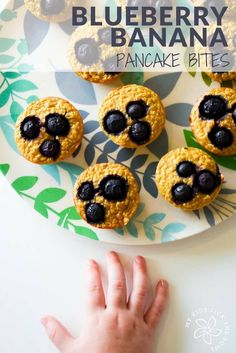 healthy blueberry banana pancake muffin bites. easy breakfast recipe or healthy lunch box suitable for baby led weaning. Low in sugar