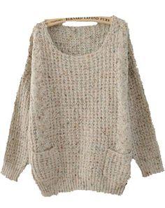 Grey Round Neck Long Sleeve Pockets Embellished Sweater