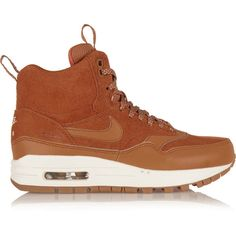 Nike - Air Max 1 Suede And Leather High-top Sneakers ($54) ❤ liked on Polyvore featuring shoes, sneakers, tan, high top leather shoes, high top shoes, suede shoes, leather shoes and tan suede shoes