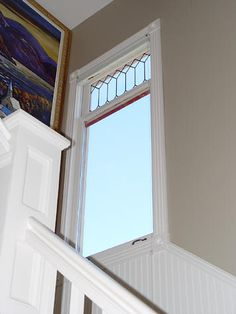 Fixed and leaded transom for garage windows.