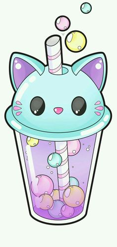 Cute cat bubble tea [Commissions open] by Meloxi on DeviantArt Tap the link for an awesome selection cat and kitten products for your feline companion! Chat Kawaii, Arte Do Kawaii, Kawaii Cat, Kawaii Anime, Cute Cat Drawing, Cute Kawaii Drawings, Drawing Ideas, Drawing Drawing, Food Drawing
