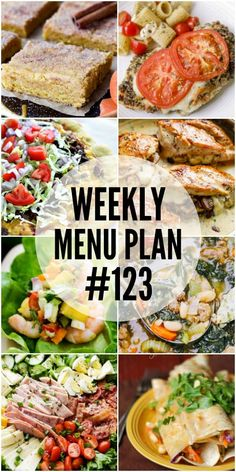 WEEKLY MENU PLAN (#123) - A delicious collection of dinner, side dish and dessert recipes to help you plan your weekly menu and make life easier for you! via @diethood