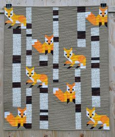 Fox among the birches quilt