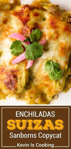 Creamy Chicken Enchiladas Suiza Easy Healthy Recipes, Easy Dinner Recipes, Appetizer Recipes, Side Recipes, Turkey Recipes, Chicken Recipes, Meat Recipes, Enchilada Recipes, Enchilada Sauce