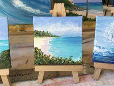 "Warwick Long Bay, Bermuda, 3x3"" , acrylic"