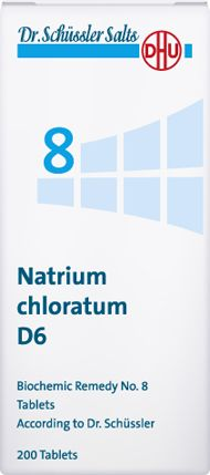 DHU Dr. Schuessler salts - Schüssler salt no 8 - Natrium chloratum,Natrium chloratum regulates the balance of body fluids. It is helpful in gastroinstestinal complaints like diarrhoea and vomiting.