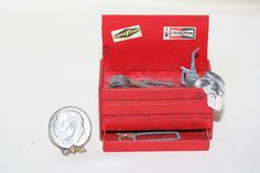 miniature dollhouse artisan aged tool box w/tools duct tape hammer saw 1:12 scale - nice item for a garage or work shop